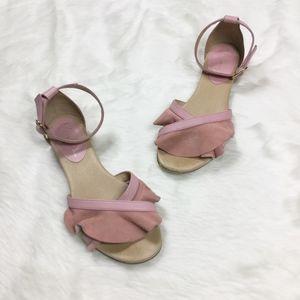 Anthropologie Pink Suede Flutter Sandals sz. 6.5
